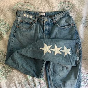 NWOT Zara painted star jeans washed straight leg